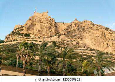 Alicante, Spain - December 1, 2018: View of Santa Barbara Castle on Mount Benacantil above Alicante - Spain