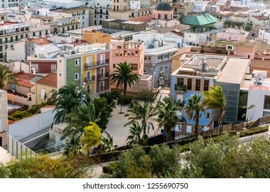 Alicante, Spain - December 1, 2018: Great Mediterranean summer travel destination - Beautiful city of Alicante Costa Blanca Valencia province Spain