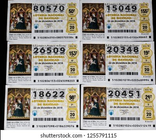 ALICANTE, SPAIN - DECEMBER 11, 2018: Extraordinary Christmas lottery Spain 2018. Lottery tickets worth € 20 per unit. First prize of € 400,000.