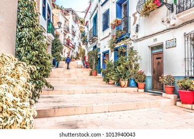 Alicante, Spain, December 14, 2017: Beautiful old street in Alicante city, Costa Blanca, Spain