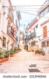 Alicante, Spain, December 14, 2017: Beautiful old street in Alicante city, Costa Blanca, Spain