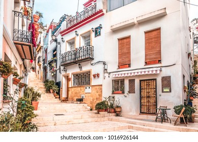 Alicante, Spain, December 14, 2017: Beautiful street in Alicante city, Costa Blanca, Spain