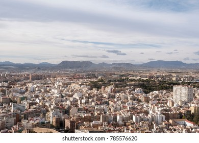 ALICANTE, SPAIN - DECEMBER 2017: View of the city Alicante on the Costa Blanca in the Valencia region. Population about 330.000.