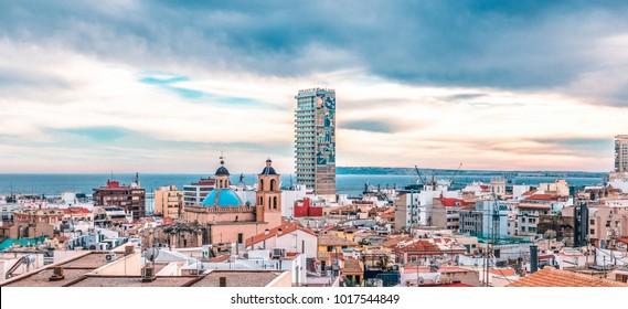 Alicante, Spain, December 31, 2017: Panoramic view of Alicante city, Costa Blanca, Spain.