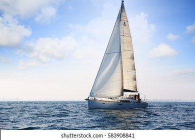 ALICANTE, SPAIN. FEBRUARY 18: Private sailboat Beneteau Oceanis 46 sailing close to Alicante bay in Spain; on February 18, 2017 in Alicante.