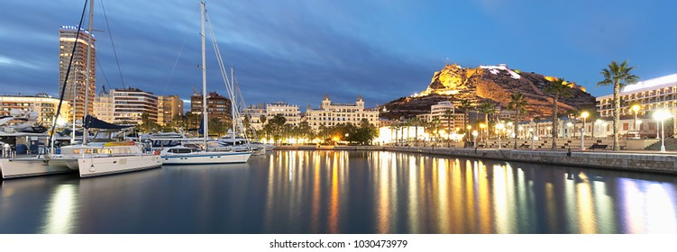 Alicante, Spain. February 9, 2018: Panoramic view of the city of Alicante evening in winter