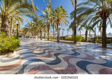 ALICANTE, SPAIN- JANUARY 18, 2018: Popular street maritime promenade close to port,Alicante, Spain.