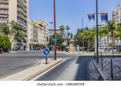 ALICANTE, SPAIN - JULY 1, 2019: Beautiful Street view in Alicante. Alicante is a port city on Spain south-eastern Costa Blanca, and the capital of the Alicante province. Spain.