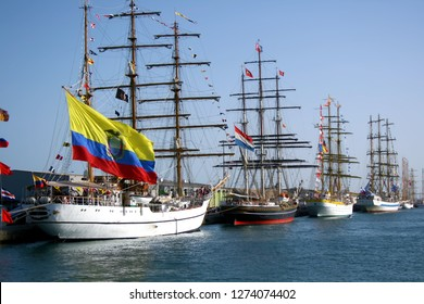 ALICANTE - SPAIN. July 30, 2009. Classic sailboats docked during the famous Cutty Shark regatta in Alicante city.