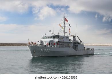 ALICANTE, SPAIN - JUNE 03: Turkish minesweeper vessel entering in the port of Alicante; Spain; on june 03, 2015 in Alicante.