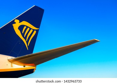 Alicante, Spain - June 18, 2019: Ryanair logo on the tail of aircraft plane