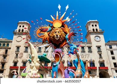 Alicante, Spain - June 20, 2017: The Bonfires of Saint John in Alicante. Decorations which are exhibited in the streets during the festival and are set on fire on the last day of the event. Spain