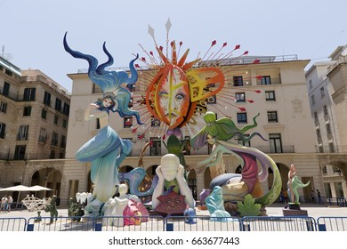 Alicante, Spain. June 20, 2017: Image corresponding to the official bonfire of the town hall square. Artwork by artist Pedro Espadero and his team.