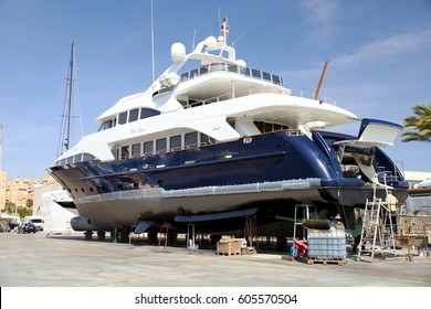 ALICANTE, SPAIN. MARCH 06: Luxury private yacht in Alicante shipyard for repairs and maintenance; on march 06, 2017 in Spain.