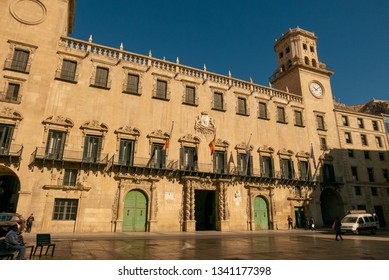 ALICANTE, SPAIN - MARCH 12, 2019: facade of the town hall of Alicante, Spain, on a sunny day