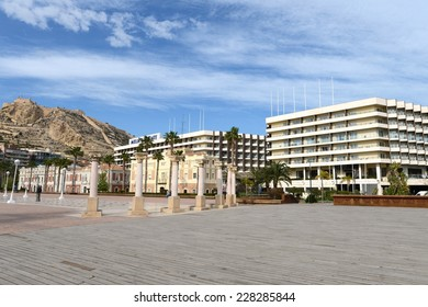 ALICANTE, SPAIN - MARCH 27, 2014: Alicante the city in the Valensiysky Autonomous Region, capital of the Province of Alicante. It is located on the bank of  Mediterranean Sea. Alicante from high point