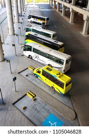 Alicante, Spain - May 16, 2018: Buses in a row waiting arrival passengers in the airport of Alicante. Costa Blanca. Spain