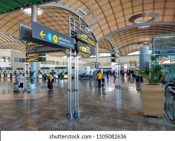 Alicante, Spain - May 16, 2018: Interior of the departure hall of the airport in Alicante. May 9, 2015 in Alicante, Spain