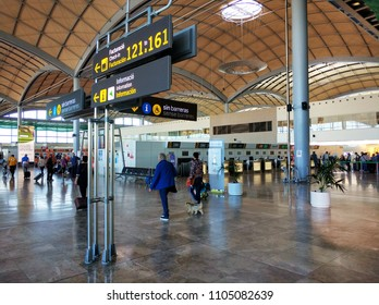 Alicante, Spain - May 16, 2018: Interior of the departure hall of the airport in Alicante. May 9, 2015 in Alicante, Spain