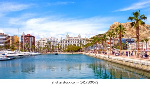 ALICANTE, SPAIN - MAY 22, 2016: Beautiful view of Alicante center from marina. Alicante is a city and port on the Costa Blanca.