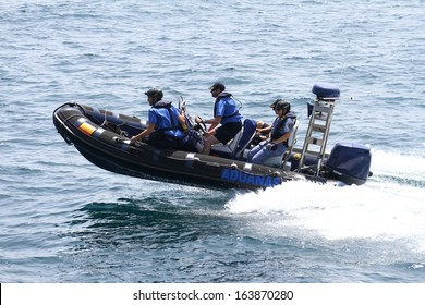 ALICANTE, SPAIN - OCTOBER 07: The coastguard patrol the Spanish Customs is sailing looking for drugs traffic over the coast, on October 07, 2013 in Alicante.