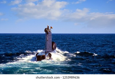 ALICANTE, SPAIN – OCTOBER 16, 2018. Retired S60 class submarine Delfin of the Spanish Navy sailing in surface in open waters in Spain.