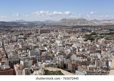 Alicante, Spain October 19, 2017: Views of the city of Alicante from the Castle of Santa Barbara.