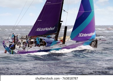 ALICANTE, SPAIN. October 22, 2017. Team Akzonobel moments after start Leg 1 Alicante-Lisbon of the Volvo Ocean Race 2017-18 one of the most exciting start we've seen from Alicante.