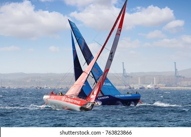 ALICANTE, SPAIN. October 22, 2017. Teams Vestas and Dongfeng of the VOR fleet fighting for the first position close to Santa Pola Cape in the VOR 2017.