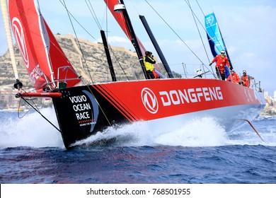 Alicante, Spain: October 22 2017 Volvo Ocean Race 2017-18; Volvo Ocean race 2017-18, LEG 1 start from Alicante (Spain)