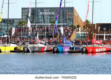 ALICANTE, SPAIN - OCTOBER 22: Details of the Race Village of Volvo Ocean Race 2017 in the starting port with teams prepared to start Leg 1,  on October 22, 2017 in Alicante.