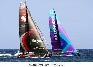ALICANTE, SPAIN - OCTOBER 22: Epic start of the Volvo Ocean Race 2017-18 and possibly one of the most exciting start we've seen from Alicante, on October 22, 2017 in Alicante.