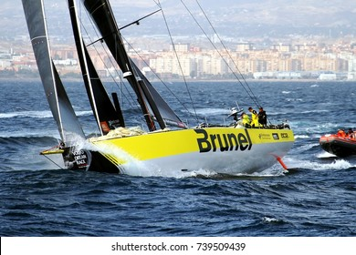 ALICANTE, SPAIN - OCTOBER 22: Team BRUNEL during the epic start of the Volvo Ocean Race 2017-18 and possibly one of the most exciting start we've seen, on October 22, 2017 in Alicante.