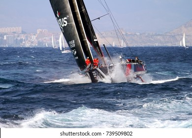 ALICANTE, SPAIN - OCTOBER 22: Team SUN HUNG KAI during the epic start of the Volvo Ocean Race 2017-18 and possibly one of the most exciting start we've seen, on October 22, 2017 in Alicante.