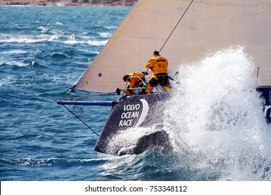 ALICANTE, SPAIN - OCTOBER 22: Team CLEAN SEAS dworking hard agains waves under the lighthouse of Santa Pola Cape, on October 22, 2017 in Alicante.