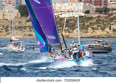 ALICANTE, SPAIN. October, 22. Team Akzonobel crossing the first beacon of the Volvo Ocean Race 2017 Leg 1 from Alicante to Lisbon, on October 22, 2017 in Alicante.