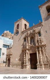 Alicante, Spain - October 5 2018: Cathedral of Alicante and the public square surrounding it
