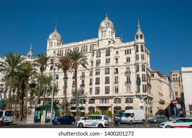 Alicante, Spain - October 5 2018: Exterior view of Casa Carbonell and the public square in front of it, in Alicante