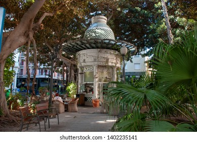 Alicante, Spain - October 5 2018: Small round park cafe under huge rubber trees in Alicante, Spain