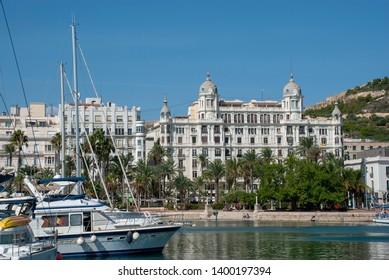Alicante, Spain - October 7 2018: Exterior view of Casa Carbonell from harbor, in Alicante
