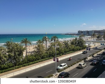Alicante, Spain-02.07.2017: The beautiful city Alicante, the beach, people, the high way, the nature and buildings of Spain