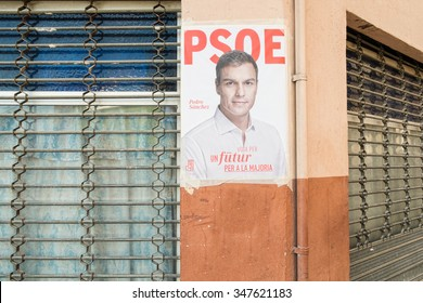 ALICANTE, SPAIN-DECEMBER 5, 2015: Political campaign poster depicting oposition leader Pedro Sanchez on the kickoff to the 2015 elections.