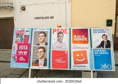 ALICANTE, SPAIN-DECEMBER 5, 2015: Political campaign posterS depicting several presidential candidates on the kickoff to the 2015 elections.