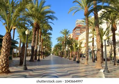 Alicante,Spain- 20/02/2016:Promenade Explanada - the main tourist street in Alicante