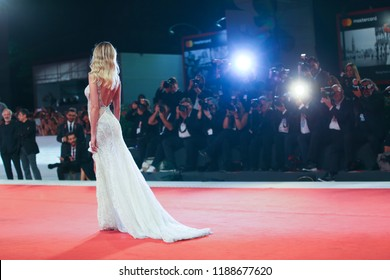 Alice Campello walks the red carpet ahead of the 'Les Estivants (The Summer House)' screening during the 75th Venice Film Festival at Sala Grande on September 5, 2018 in Venice, Italy.