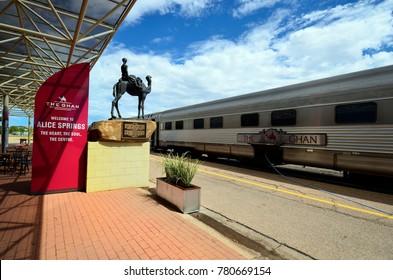 Alice Springs, NT, Australia - November 16, 2017: The Ghan railway in train station of Alice Springs