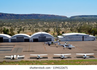 ALICE SPRINGS, NT, NOVEMBER 21:  Aircrafts and hangars of Royal Flying Doctor Service on outback airport in Northern Territory, on November 21, 2017 in Alice Springs, Australia