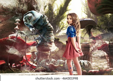 Alice in Wonderland. Fairy tale. Very beautiful young girl in the fairy forest of Alice in Wonderland met Worm