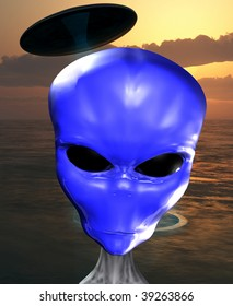 alien with a blue face.