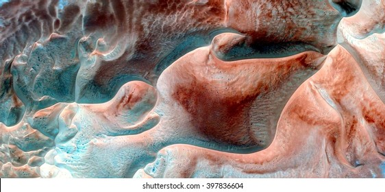 alien breeding in his nest, abstract composition of dune landscape, abstract photography of the deserts of Africa from the air, bird's eye view, abstract expressionism, contemporary art,